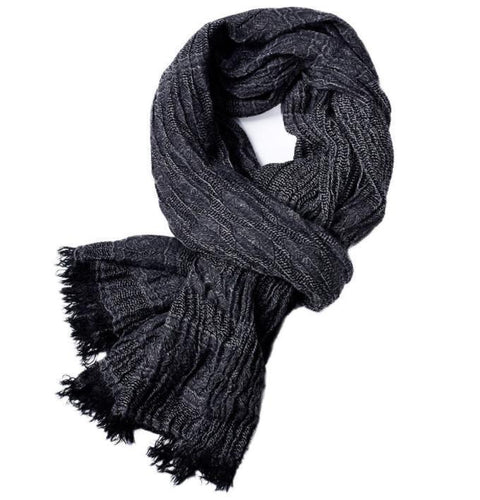 PMS scarf Black / one size Autumn and winter solid color tassel yarn-dyed men's scarf