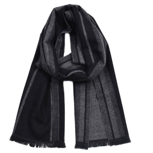PMS scarf Black / one size British gentleman color woven cotton striped tassel scarf
