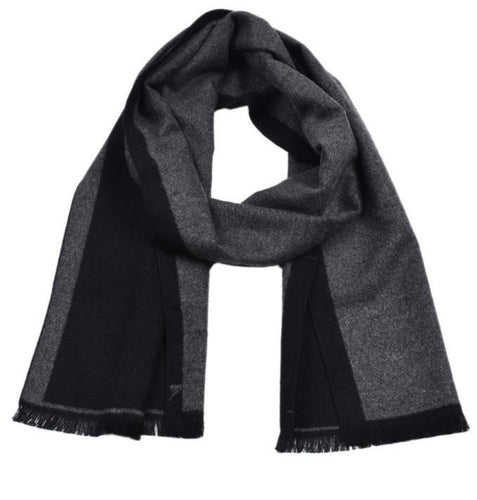 PMS scarf Black / one size Plaid contrast color double-faced cashmere-dyed scarf