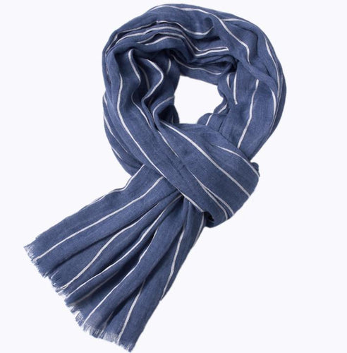 PMS scarf Blue / one size Autumn and winter striped tassel warm shawl color woven scarf