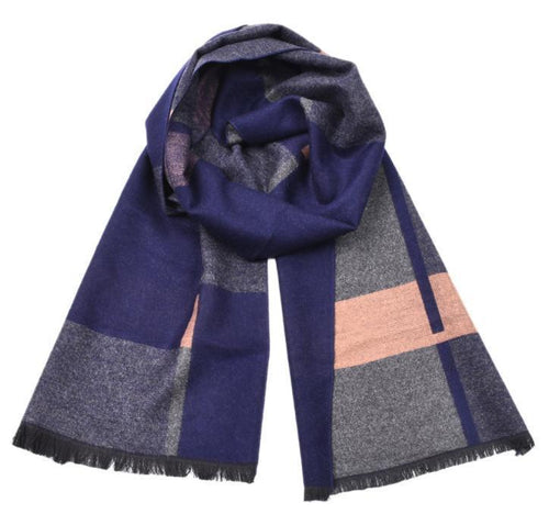 PMS scarf Blue / one size Autumn and winter yarn-dyed color long scarf