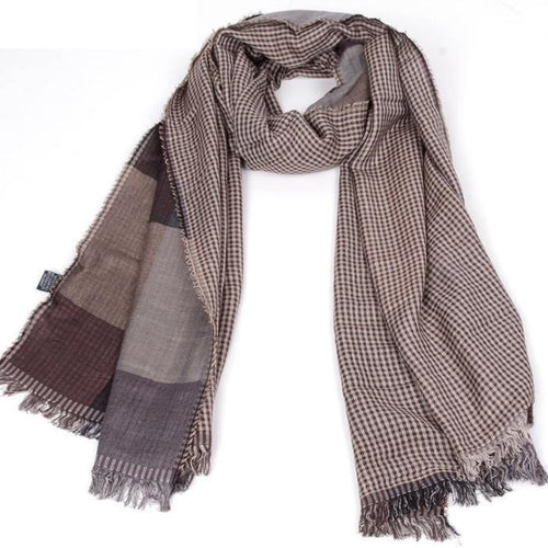 PMS scarf Coffee / one size Autumn and winter tartan men's tassel men's scarf