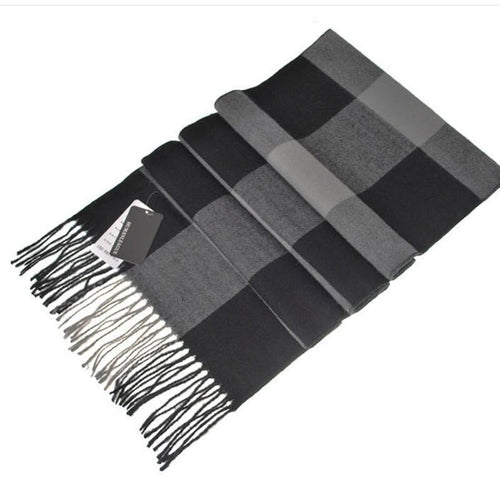 PMS scarf Gray / one size Pure Cashmere Thick British Plaid Scarf