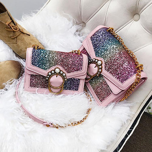 PMS Sequined Shoulder Crossbody Bag