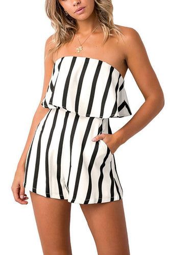 PMS Sexy Casual Off Shoulder Striped Romper