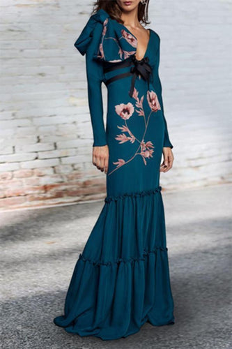 PMS Sexy Deep V Collar Belt Bow Floral Printed Fishtail Maxi Dress