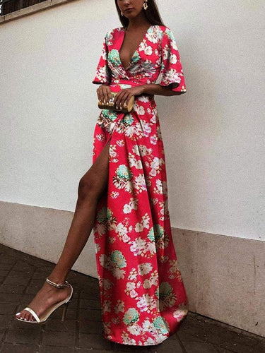 PMS Sexy Red Short Sleeves Floral Print Maxi Dress