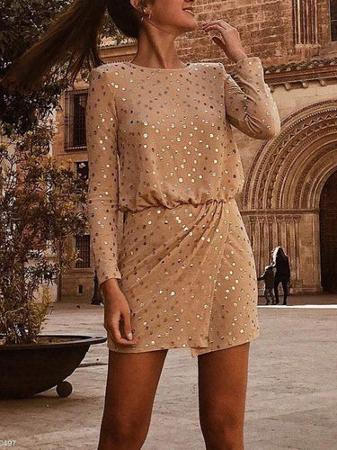 PMS Sexy Sequin Long Sleeve Bodycon Dress Mini Dress