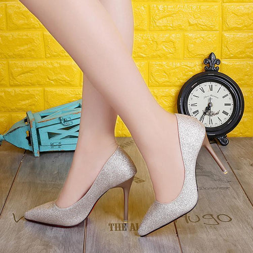 PMS Sexy Sequins Simple Style High Heels Shoes