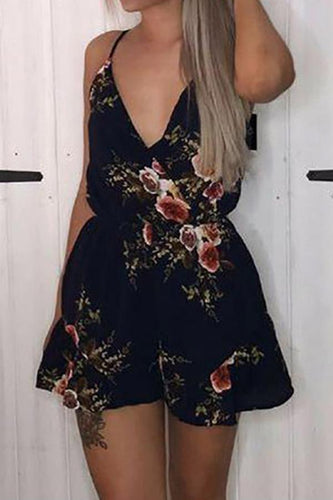 PMS Sexy Sleeveless Floral Print Playsuit Rompers