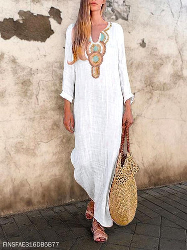 PMS Sexy V-Neck Vintage Fashion Print Causal White Maxi Dress