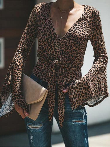 PMS Shirt & Blouse New Women's Leopard Waistband V-Neck Bottoming Shirt