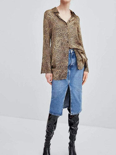 PMS Shirt & Blouse Sexy Leopard Print V Collar Long Sleeve Button Blouse