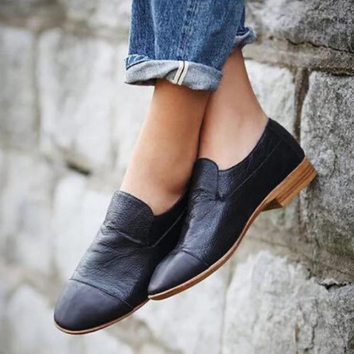 PMS shoes Black / 35 Solid Color Flat Shoes