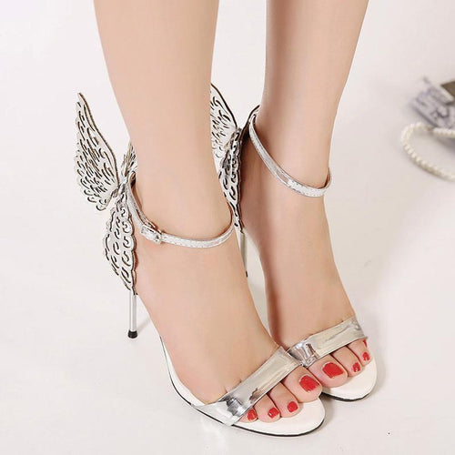 PMS silver / 40 Butterfly Wings Wedding High Heel Sandals