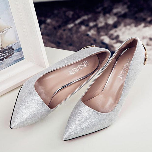 PMS silver / CN 34 Carved Pointed Toe Heel Wedding Shoes