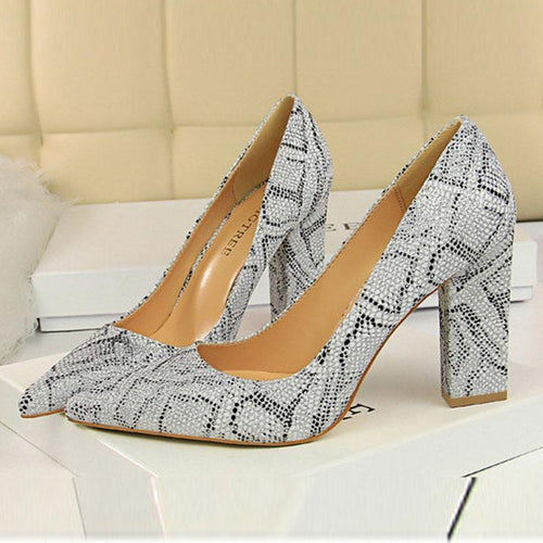 PMS silver / EU34 Elegant Pointed-Toe Vintage High Heels Shoes
