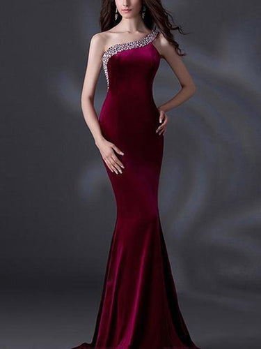 PMS Single Shoulder Fishtail Evening Dress
