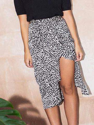 PMS Skirt Winter Irregular Leopard  Printed High Waist Skirt