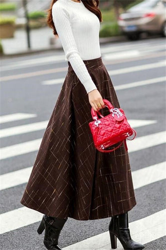 PMS Skirts Fashion Plaid Skirt   Full Skirt With Extra Thick A-Line Skirt