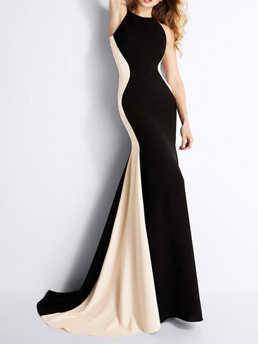 PMS Sleeveless Spell Color Slim Fishtail Evening Dress