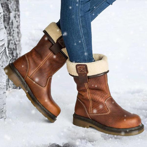 PMS Snow Boots Fashion Comfortable Women Low Heel Boots