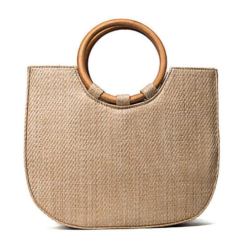 PMS Straw Wood Handle Hand Bag