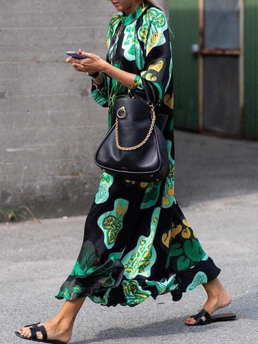 PMS Stylish Green Floral Print Long Sleeve Maxi Dresses
