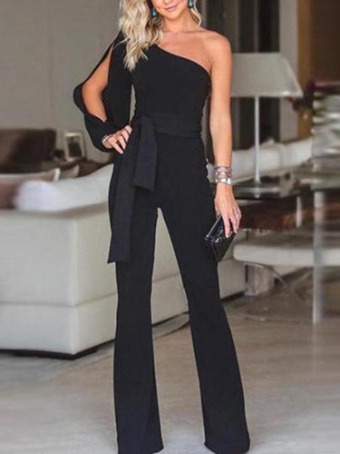 PMS Stylish One Shoulder Slit Sleeve Black Jumpsuit