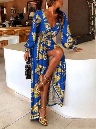 PMS Stylish Vintage Print Deep  V-Neck Sexy Maxi Dress