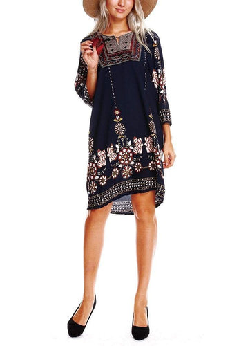 PMS Summer Vintage Bohemia Floral Printed Shift Dress