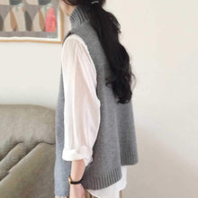 PMS Sweater Casual High Collar Slit Pure Colour Vest Sweater