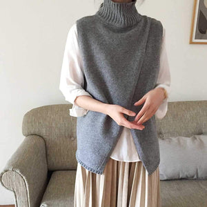PMS Sweater Gray / one size Casual High Collar Slit Pure Colour Vest Sweater
