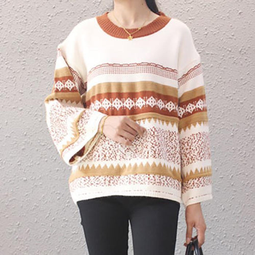 PMS Sweater White / one size Casual Round Collar Wave Pattern Flare Sleeve Sweater