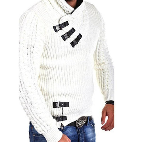 PMS Sweater White / s Explosive Men's Leather Button Sweater
