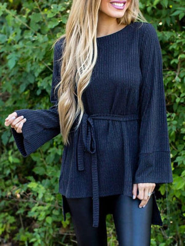 PMS Sweaters Fashion Irregular Long Sleeve Sweater With Belt