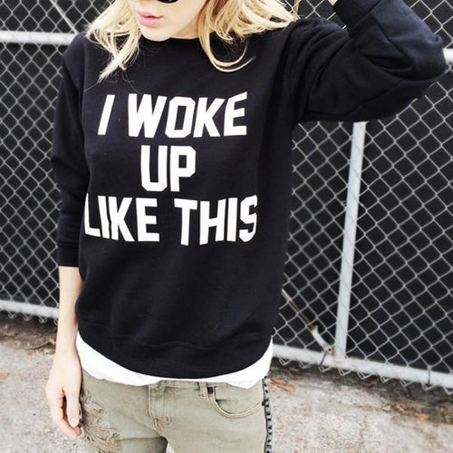 PMS Sweatshirts Black / s Fashion English Letter Print Pullover Sweatshirt