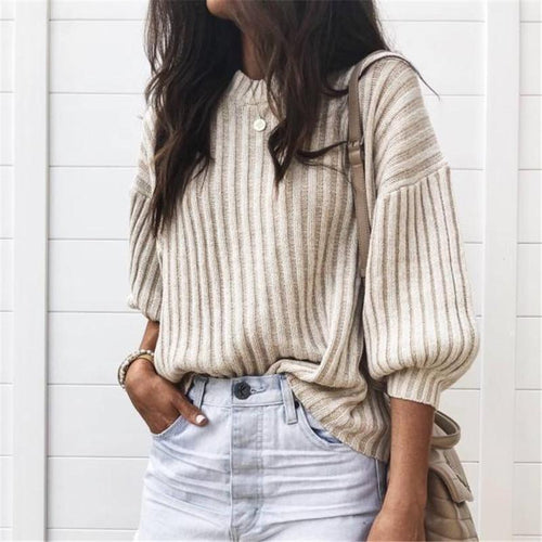 PMS T-Shirts Beige / s Autumn And Winter Fashion Pure Color Pit Strip Knitted T-Shirts