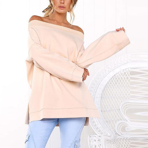 PMS T-Shirts Pink / m Sexy Off Shoulder Long Sleeve Plain Loose T-Shirts