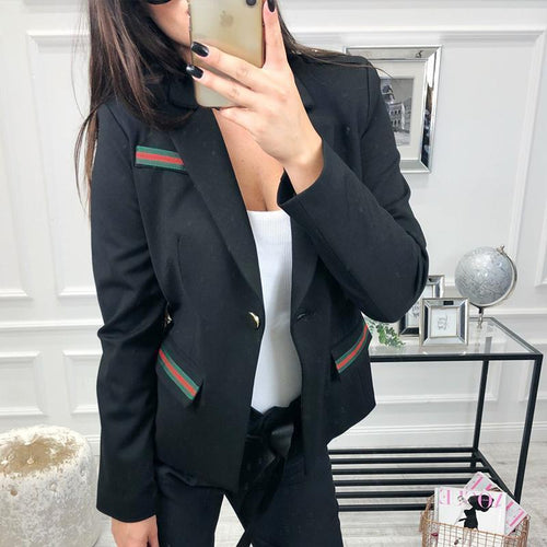 PMS Tops Black / s Lapel Long Sleeve Button Fashion Blazers
