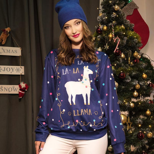 PMS Tops Same As Photo / m Christmas Fashion Print Pullover Sweater