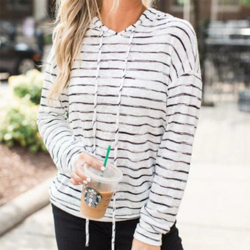 PMS Tops Same As Photo / s Hooded Stripes Long Sleeve Loose Fashion Hoodies