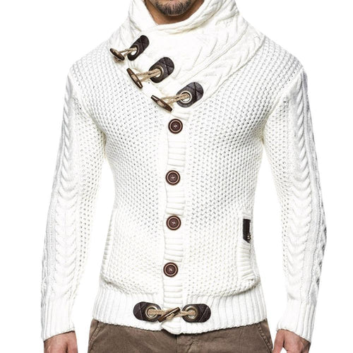 PMS Tops White / s Solid Color Slim Front Button-Knit Coat