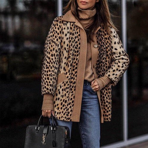 PMS TOPS Winter Warm Loose Leopard Outerwear Coat