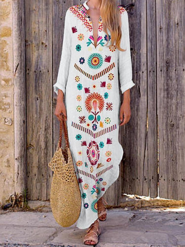 PMS V-Neck Bohemian Printed Vintage Dress Maxi Dress