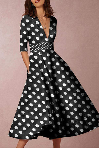 PMS V-Neck  Polka Dot Printed Skater Dress