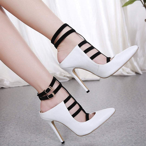 PMS white / 35 Fashion Versatile Stiletto Heels
