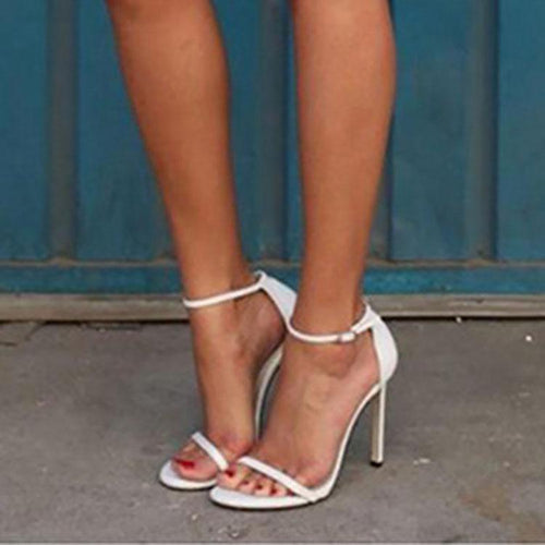 PMS white / 35 Sexy Pure Color Slim High Heel Sandals