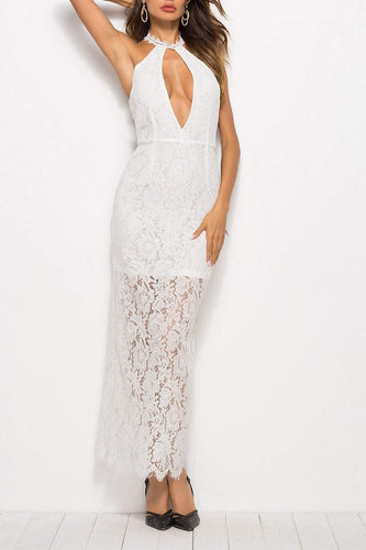 PMS white / m Sexy Off Shoulder Plain Hollow Out Lace Backless Maxi Dress