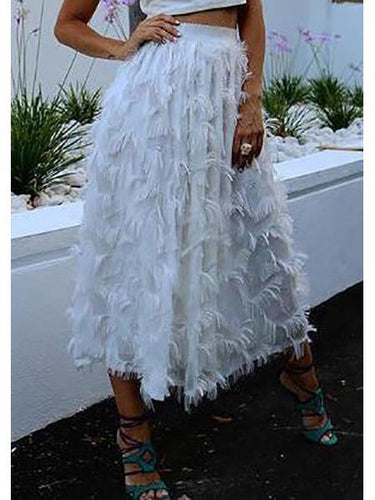 PMS white / one size Fashion Plain Loose High Waist Velvet Fringe Long Skirt